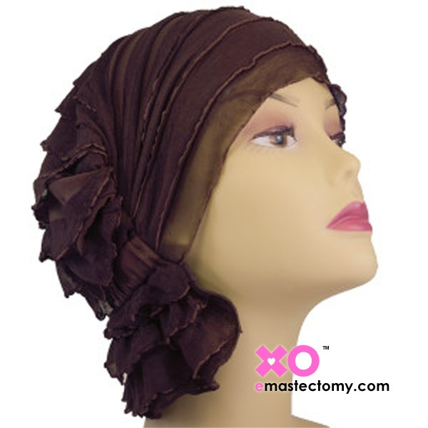 Janice Chemo Beanie Chocolate Brown Ruffle