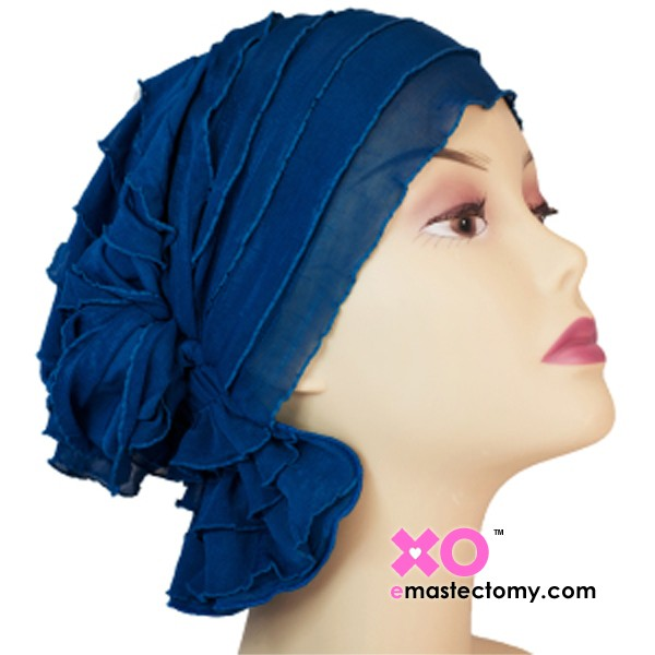 Muriel Chemo Beanie Blue Ruffle