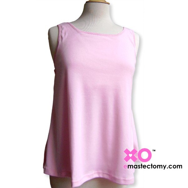 Queen Size Cotton Mastectomy Tank Top With Built-In Pocketed Shelf Bra.