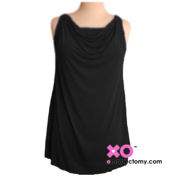 Cowl Neck Mastectomy Tank Top with built in pocketed bra